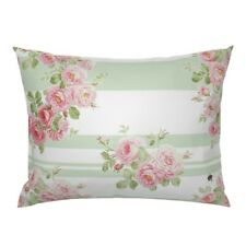Country Floral Pink Green Basil And White Roses Wreath Pillow Sham by Roostery