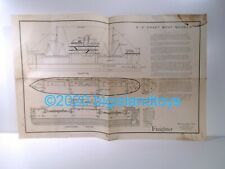 "Vintage 1940s E-Z-Craft Wood Model Boat Instructions 19"" Freighter"