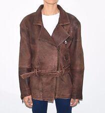 Vintage Brown Leather Bomber Biker Hips Length Tie Waist Coat Jacket Size XL