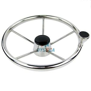 Boat Steering Wheel Stainless 5 Spoke 25 Degree With Knob Marine Steering 13.5''