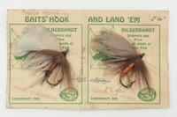 Vintage Hildebrandt Handmade Baits Flies Fly Pair Fishing On Card
