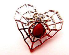 SILVER SPIDER WEB HEART LAPEL PIN brooch button Gothic Valentine halloween G4