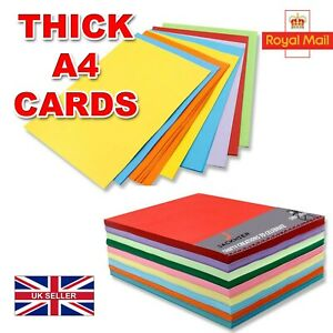 A4 Coloured Crafts Card Making 260 gsm Mixed Colour Assorted Pack size Sheets UK
