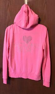 Victorias Secret Full Zip Hoodie Pink Supermodel Bling Sweatshirt Sz L Tub3