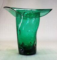 Vintage Green Crackle Glass Art Glass Vase Hand Blown Pontil Scar