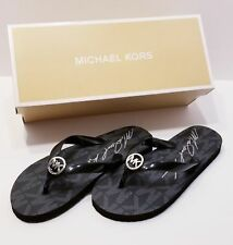 NEW IN BOX MICHAEL KORS FLIP FLOP BLACK JET SET MK LOGO WOMEN'S SIZE 7 SANDALS