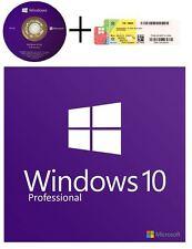 Microsoft Windows 10 Pro Professional 64 bit DVD OS + COA 1 License