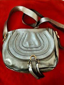 CHLOE Leather Medium Marcie Zip Crossbody Bag in Metallic Gold