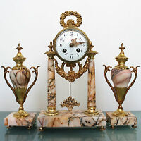ANTIQUE French Clock JAPY FRERES 1855 ORMOLU Mantel SET Marble GILDED Bell CHIME