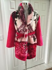 VTG Lady FOOT LOCKER Casuals Faux-Fur Pink Floral Belted Coat Small Excellent!