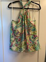 LILLY PULITZER MULTI COLOR BOW TIE BACK HALTER TOP SIZE L