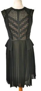 Karen Millen 10 Black Sleeveless Pleat Skirt Midi Dress Party Occasion Silk Mix