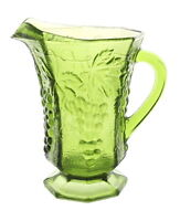 Vintage Anchor Hocking Green Glass Water Pitcher with Embossed Grape Pattern