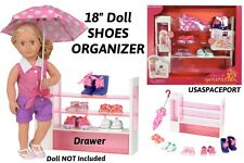 """18"""" Doll-House Furniture Storage Case Set Shoes Boots+Umbrella for American Girl"""