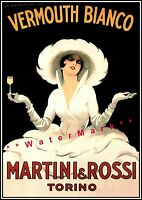Vermouth Martini 1918 Vermouth Bianco Vintage Poster Print Advert FREE US S/H