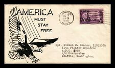 DR JIM STAMPS US EAGLE PATRIOTIC CACHET COVER WWII LOWELL MASSACHUSETTS