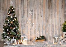 10x8ft Rustic Wood Planks Wall Christmas Tree Photo Background Vinyl Backdrop LB