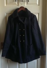 TOPSHOP Navy Blue Wool Mix Swing Style Short Coat Size 12 Excellent Condition