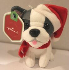 Hallmark Mini Christmas Stuffed Plush Puppy Boxer Bulldog Santa Hat Scarf NEW
