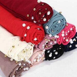 Women's Female Chiffon Pearl Scarf Islamic Muslim Hijab Head Wrap Shawl Scarves