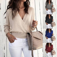 Women's Sexy Wrap V Neck Long Sleeve Wrap Tops Loose Fit Sweater Jumper Blouse