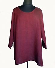 FLAX Designs Neutral Two Soft Tunic Oxblood Red Linen Plus 3G 3X NWOT