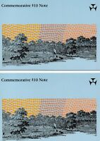 Australia 1988 Johnston/Fraser  Consecutive PAIR Bicentenary $10 Note Folders P2