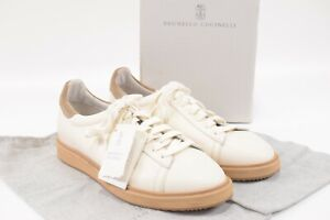 Brunello Cucinelli NWB Sneakers Size 44 11 US In Cream With Tan Sole & Details
