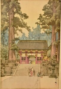 Old Japanese Hiroshi Yoshida Unmounted Woodblock Print Toshogu Shrine Signed