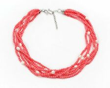 Twisted Elegant White Pearl and pink coral Necklace 48cm with Extender