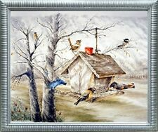 Wild Birds At Feeder Animal Wall Decor Silver Framed Art Print Picture (20x24)