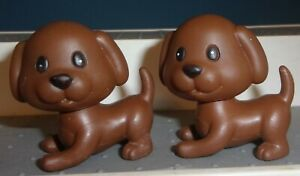 BROWN DOG LOT OF 2 DOLLHOUSE SIZE 2 INCH PUPPIES PVC GOOD CONDITION FREE SHIP
