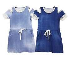 BNWT Girls Cold Shoulder Denim Look Dress Lace Trim Summer Teen Kids Age 4-14