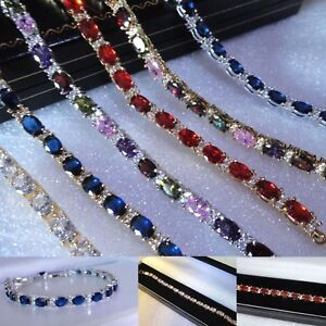 Women's White Yellow Gold Filled Simulated Diamonds and Sapphire Bracelets, BOXD