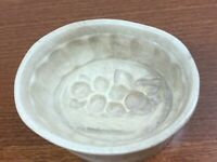 Antique Vintage Very Old Ceramic Grape Basket Oval Butter Mold