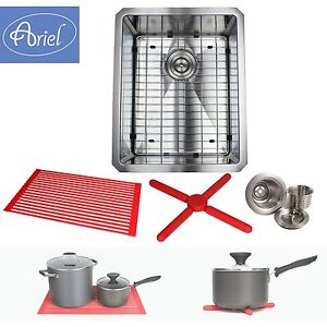 "Ariel 16"" Stainless Steel Undermount Single Bowl Kitchen Sink 15mm (1/2"") Radius"