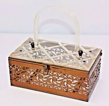 Vintage MADWED Lucite Metal Cutout Floral Filigree Etched Purse Evening Hand Bag