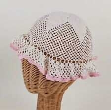 Vintage Hand Crocheted Girl Toddler Baby Sun Hat White and Pink Cotton 1950s