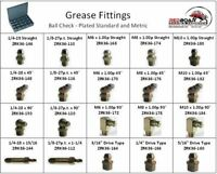GREASE ZERK FITTING STANDARD AND METRIC ASSORTMENT IN 20 HOLE LARGE METAL TRAY