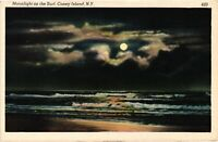 Vintage Postcard - Moonlight On The Surf Coney Island New York NY #4223