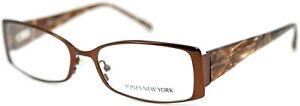 JONES NEW YORK J443 Brown Rectangular Womens Full Rim Eyeglasses 54-17-135