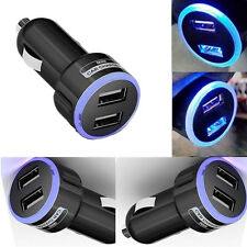2 Colores Mini Usb Doble Puerto 12V Universal en Coche Cargador Adaptador con anillo de LED