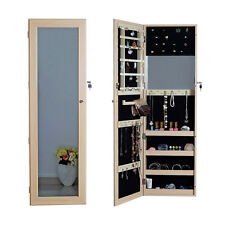 Wall Door Mount Full-Length Mirror Jewelry Armoire Cabinet Closet with Lock ,Oak