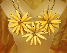 FUNKY! Vintage RUNWAY Necklace~3 HUGE Flowers~CRYSTAL Beads~ADJUSTABLE~EX!!!