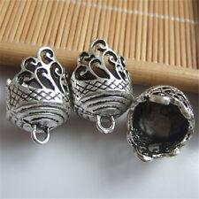 10 pcs Antique Silver Lace Lacework Embossment Grain End Cap Beads For DIY ACC