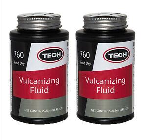 2 x Tech Fast Drying Vulcanizing Cement Tyre Repair Glue Fluid 235ml Tin