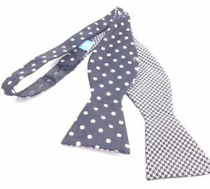 $90 Countess Mara Mens Black White Reversible Bow Tie Silk Adjustable Bowtie