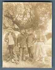 Tunisie, Sidi Abdallah, Groupe des officiers et zouave  Vintage citrate print.