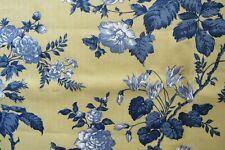 Vintage 2003 Robert Allen Home Decor Fabric Yellow & Delft Blue Floral 1.25 yds