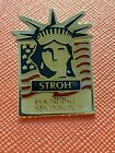 Vtg Stroh Beer Founding Sponsor USA Flag Statue of Liberty Epoxy Lapel Tack Pin